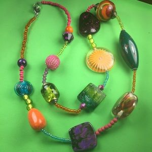 🛍 3 for $10 🛍  Color Beads & stones necklace K29